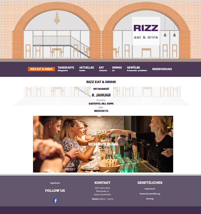 Content Management System für RIZZ Restaurant & Bar